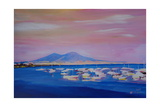 Boats in the Gulf of Naples Italy with Mount Vesuvio