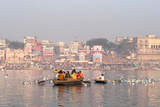 Hindu Pilgrims on Boat in the Ganges River  Varanasi  India
