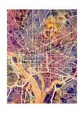Washington DC City Street Map Reproduction d'art par Michael Tompsett