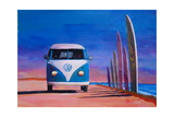 Blue White VW Surf Bus T1 Kombie Bulli Surf Board