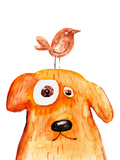 Red Dog with Bird Watercolor Hand Drawing