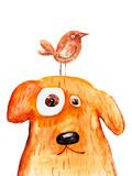 Red Dog with Bird. Watercolor. Hand Drawing Reproduction d'art par Wegener17