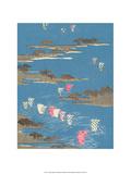Japanese Textile Woodblock  Boat Sails