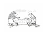 Cheetah and Lion playing cards - Cartoon
