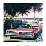 Pink Convertible by the Beach  Mid-Century Modern Car Ad