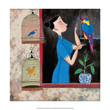 Chinese Folk Art - Girl with Birdcages in the Window