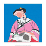 Chinese Folk Art - Girl Stroking Cat on her Lap