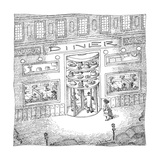 The revolving door into a Diner has a revolving selection of cakes and pie… - New Yorker Cartoon