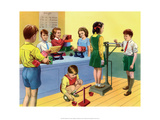 Vintage Classroom Poster - School Playground  Shadows
