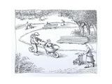 Boy riding in wagon rather than stroller - Cartoon