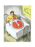 Person eating a pizza slice shaped like Italy - Cartoon