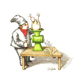 Cook grinding a chicken into smaller chickens - Cartoon