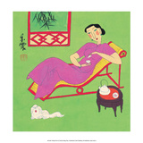 Chinese Folk Art - Girl Drinking Tea with Small Lapdog
