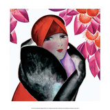 Art Deco Woman with Red Hat and Furs