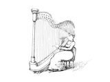 Woman playing the harp using her hair as the strings - Cartoon