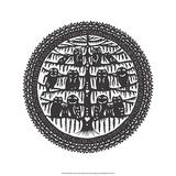 Folk Art Silhouette of Circle of Owls