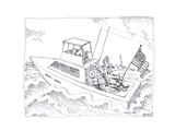 Boat with flag - Cartoon