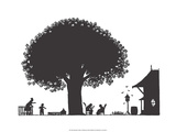 Folk Art Silhouette of Resting in the Garden