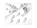 Fish skiing uphill - Cartoon