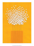 Nine Stemmed Flowers in Orange Vase