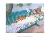 Woman Reading on a Bench, with Cat & Dog Reproduction d'art par Carl Larsson