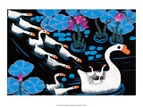 Chinese Folk Art - Mother Swan with Cygnets in Water Lilies