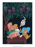 Chinese Folk Art - Cats & Kittens in the Wisteria