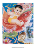Chinese Happy New Year Baby Riding Lucky Fish