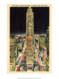 Vintage New York Postcard - Rockefeller Center at Night