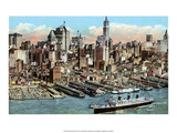 Vintage New York Postcard - Lower Manhattan