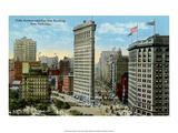 Vintage New York Postcard - Fifth Ave & Flat Iron Building