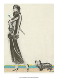 Art Deco Fashion  Award Winning Dog and His Mistress