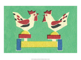 Vintage Russian Matchbox Label  Folk Toy Pecking Chickens