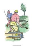 Retro Poster  Two Men Playing Golf