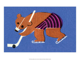 Vintage Russian Matchbox Label  Bear Playing Ice Hockey