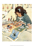 Girl Cutting out Paper Dolls Reproduction d'art par Jessie Willcox Smith