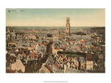 Vintage Postcard  Panorama View of Bruges