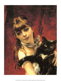 Girl with Black Cat  1885