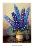 Vintage 1930s Flower Arrangement of Delphiniums