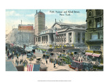 Vintage New York Postcard -Fifth Ave & 42nd Street