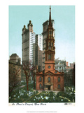 Vintage New York Postcard - St Paul's Chapel
