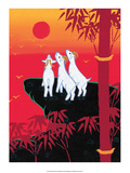 Chinese Folk Art - White Goats Gazing at the Sun