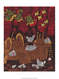 Chinese Folk Art - Chickens in the Woven Baskets