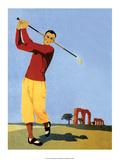 Vintage Golf Poster  Man Teeing Off