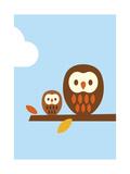 2 Owls Reproduction d'art par Dicky Bird