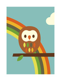 Owl and Rainbow Reproduction d'art par Dicky Bird