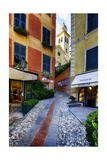 Narrow Street Leading Up To A Church In Portofino