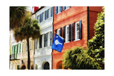 Flag Of Charleston With Palmetto And Crescent Moon