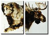 Brown Bear and Moose Tableau multi toiles par Sydney Edmunds