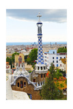 White and Blue Tower  Park Guell  Barcelona  Spain